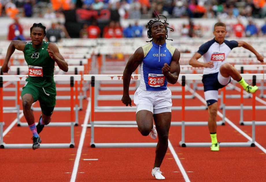Beaumont Ozen's Tony Brown clears the hurdle during the 4A Boys 110 hurdle at the state track meet at Mike A. Myers Stadium in Austin Friday, May 10, 2013, in Austin. (Cody Duty / Houston Chronicle) Photo: Cody Duty, Staff / © 2013 Houston Chronicle