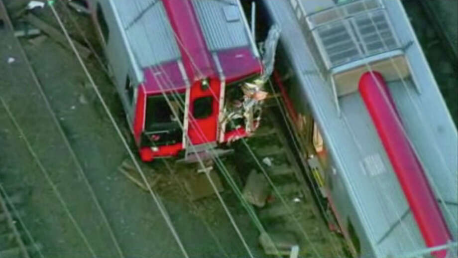 This frame grab taken from aerial video from WABC-TV shows the scene just outside Bridgeport, Conn. where two Metro North commuter trains collided during evening rush hour, sending 60 people to the hospital, including five with critical injuries, Friday, May 17, 2013. Photo: AP