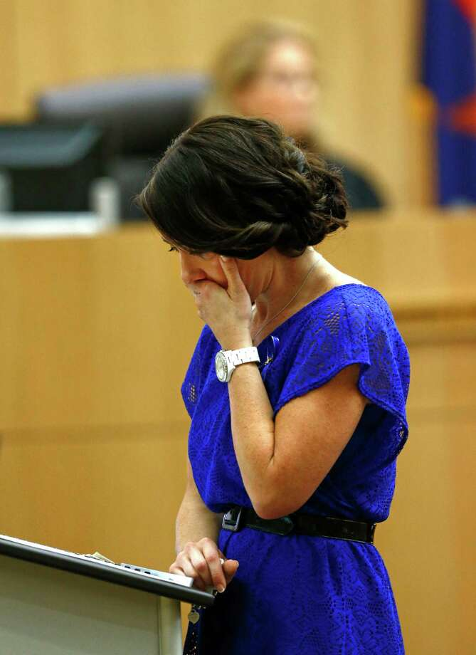 "Samantha Alexander, sister of murder victim Travis Alexander, makes her ""victim impact statement"" to the jury on Thursday, May 16, 2013, during the penalty phase of the Jodi Arias trial at Maricopa County Superior Court in Phoenix.  Jodi Arias was convicted of first-degree murder in the stabbing and shooting to death of Travis Alexander, 30, in his suburban Phoenix home in June 2008. Photo: AP"