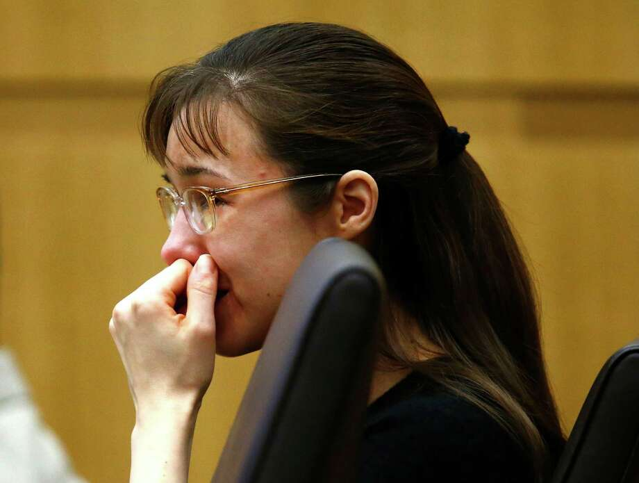 "Jodi Arias cries as she listens to Steven Alexander, brother of murder victim Travis Alexander, makes his ""victim impact statement"" to the jury on Thursday, May 16, 2013, during the penalty phase of the Jodi Arias trial at Maricopa County Superior Court in Phoenix.  Jodi Arias was convicted of first-degree murder in the stabbing and shooting to death of Travis Alexander, 30, in his suburban Phoenix home in June 2008. Photo: AP"