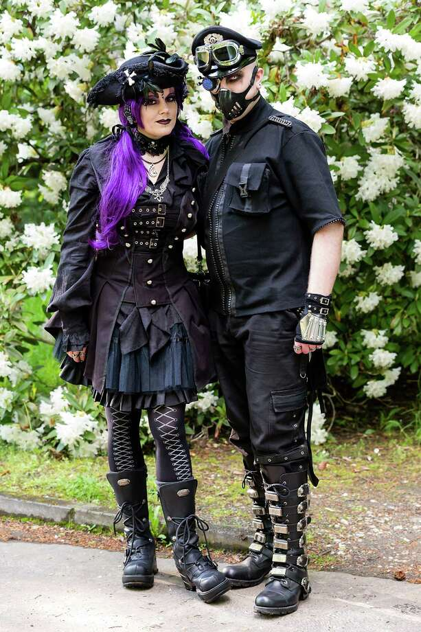 Participants dressed in goth and steam punk outfits visit the South Cemetery the second day of the annual Wave-Gotik Treffen, or Wave and Goth Festival, on May 18, 2013 in Leipzig, Germany. The four-day festival, in which elaborate fashion is a must, brings together over 20,000 Wave, Goth and steam punk enthusiasts from all over the world for concerts, readings, films, a Middle Ages market and workshops. Photo: Marco Prosch, Getty Images / 2013 Marco Prosch