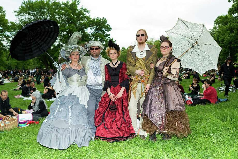 Participants gather for the traditional park picnic on the first day of the annual Wave-Gotik Treffen, or Wave and Goth Festival, on May 17, 2013 in Leipzig, Germany. The four-day festival, in which elaborate fashion is a must, brings together over 20,000 Wave, Goth and steam punk enthusiasts from all over the world for concerts, readings, films, a Middle Ages market and workshops. Photo: Marco Prosch, Getty Images / 2013 Getty Images