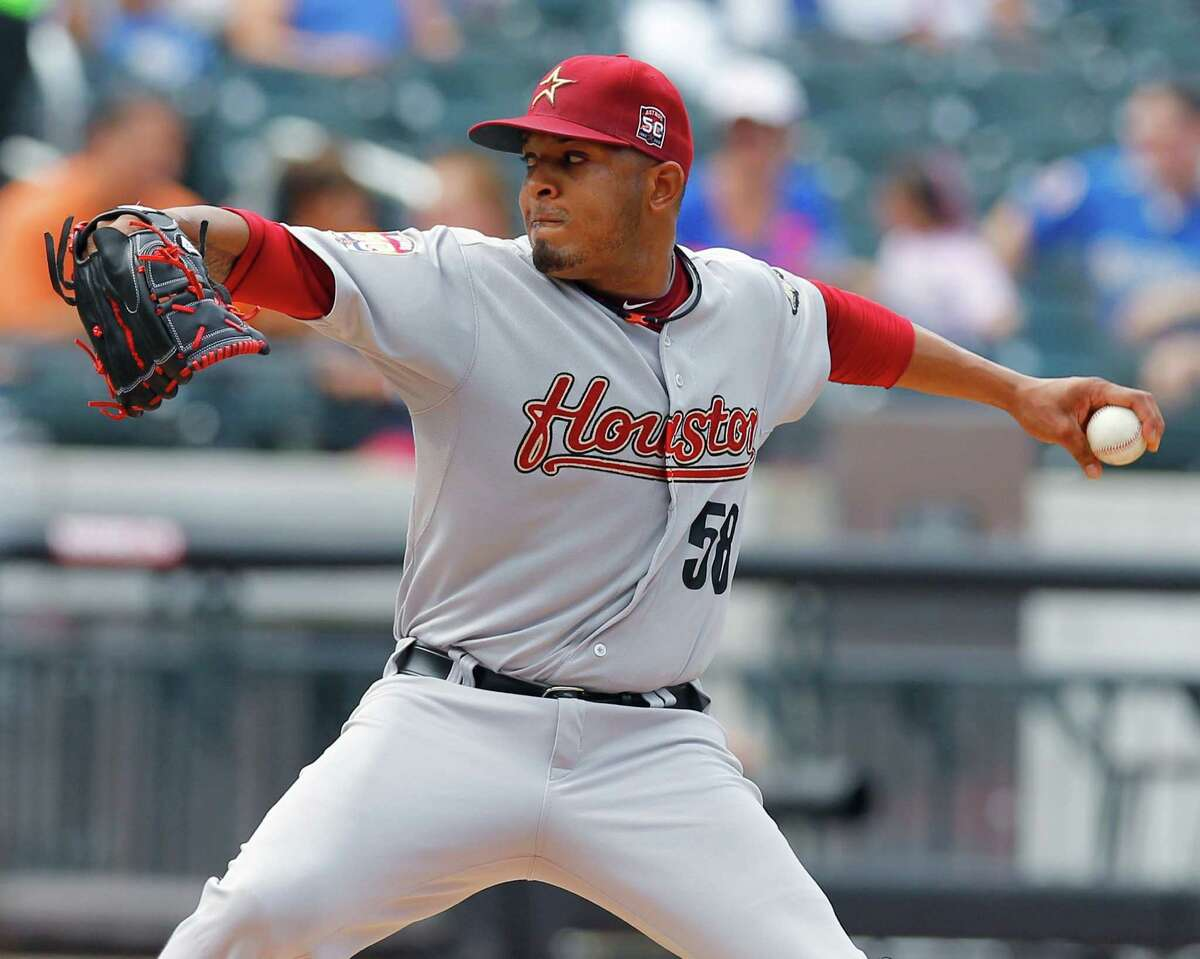 Aug. 25: Mets 3, Astros 1 Astros lefthander Fernando Abad throws a pitch to a Mets batter in the second inning. Abad made the first start of his major league career.