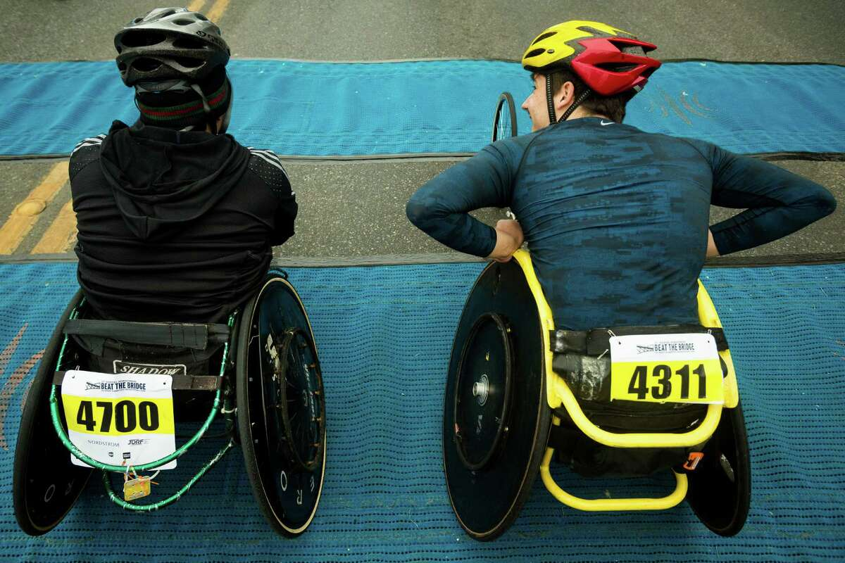 Wheelchair athletes prepare to begin the eight kilometer race at the 31st annual Nordstrom Beat the Bridge event Sunday, May 19, 2013, in Seattle. The fundraiser for JDRF is the largest charitable supporter of type 1 diabetes research. The event consists of an 8K run and wheelchair race, a 4-mile walk, a 1-mile fun run and the Diaper Derby for toddlers.