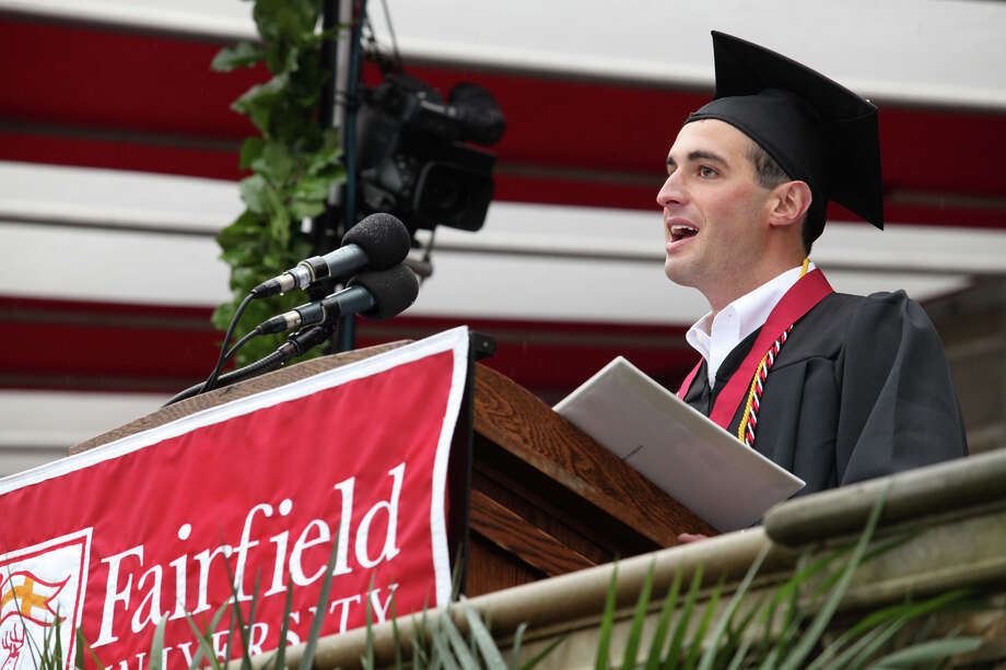 Kevin Reda, of N.Y.,  gives the valedictory speech during Fairfield University's 63rd Commencement ceremony on the Fairfield, Conn. campus on Sunday, May 19, 2013. Photo: BK Angeletti, B.K. Angeletti / Connecticut Post freelance B.K. Angeletti