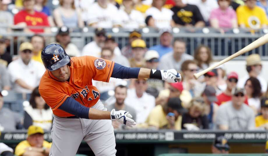 May 19: Pirates 1, Astros 0 J.D. Martinez of the Astros loses his bat as he swings at a pitch in the first inning