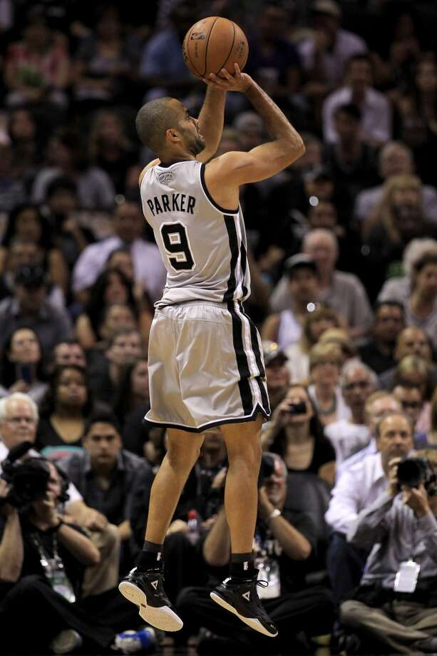 Tony Parker #9 of the Spurs attempts a shot in the first quarter against the Memphis Grizzlies during Game One of the Western Conference Finals of the 2013 NBA Playoffs at AT&T Center on May 19, 2013.