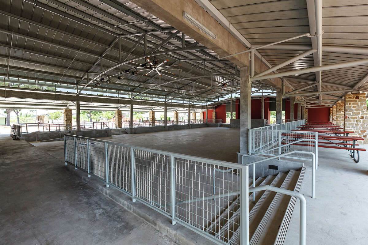 Interior of the new performance pavilion at Mission County Park, looking towards the audience area from the stage (left), on Thursday, May 17, 2013.