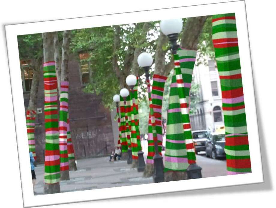 More yarn bombings and tree cozies in Pioneer Square. (Not illegal when sanctioned, obviously).   (Photo: The New Pioneer Square blog).