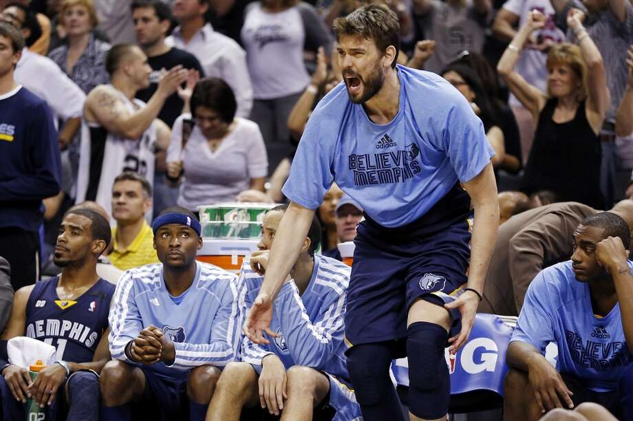 The Grizzlies' Marc Gasol reacts after a score by the Spurs during second half action of the 2013 Western Conference Finals Sunday May 19, 2013 at the AT&T Center. The Spurs won 105-83.