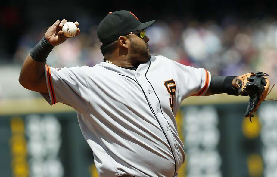 San Francisco Giants third baseman Pablo Sandoval warms up before taking his position on the diamond against the Colorado Rockies in the first inning of a baseball game in Denver on Sunday, May 19, 2013. (AP Photo/David Zalubowski) Photo: David Zalubowski, Associated Press
