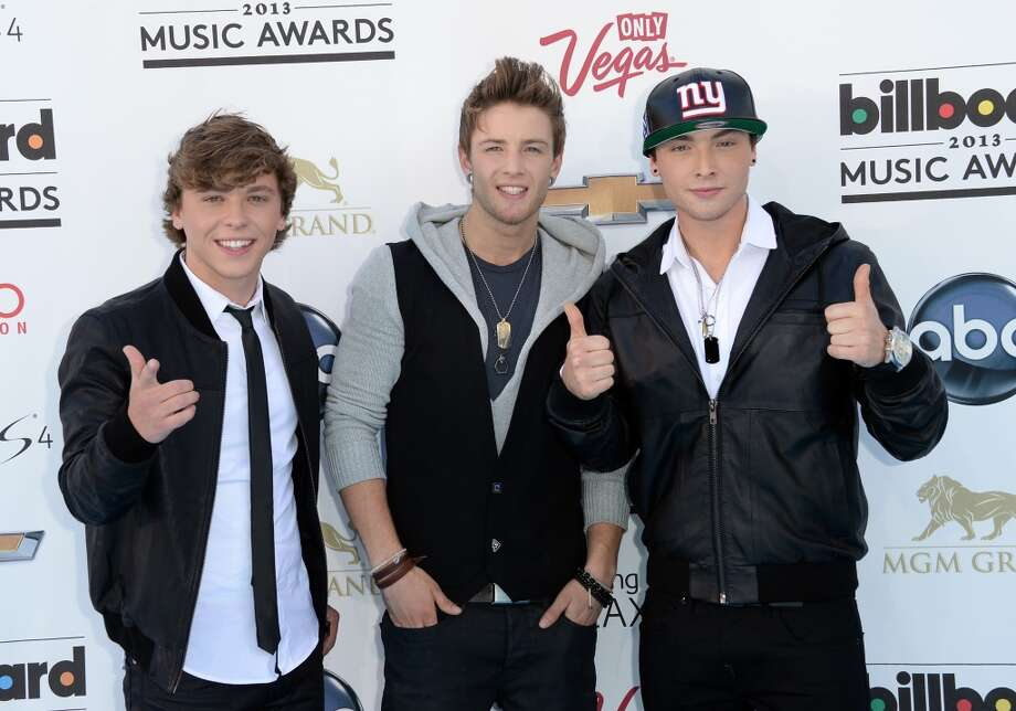 LAS VEGAS, NV - MAY 19:  (L-R) Keaton Stromberg, Drew Chadwick, and Wesley Stromberg of Emblem3 arrive at the 2013 Billboard Music Awards at the MGM Grand Garden Arena on May 19, 2013 in Las Vegas, Nevada.  (Photo by Jason Merritt/Getty Images)