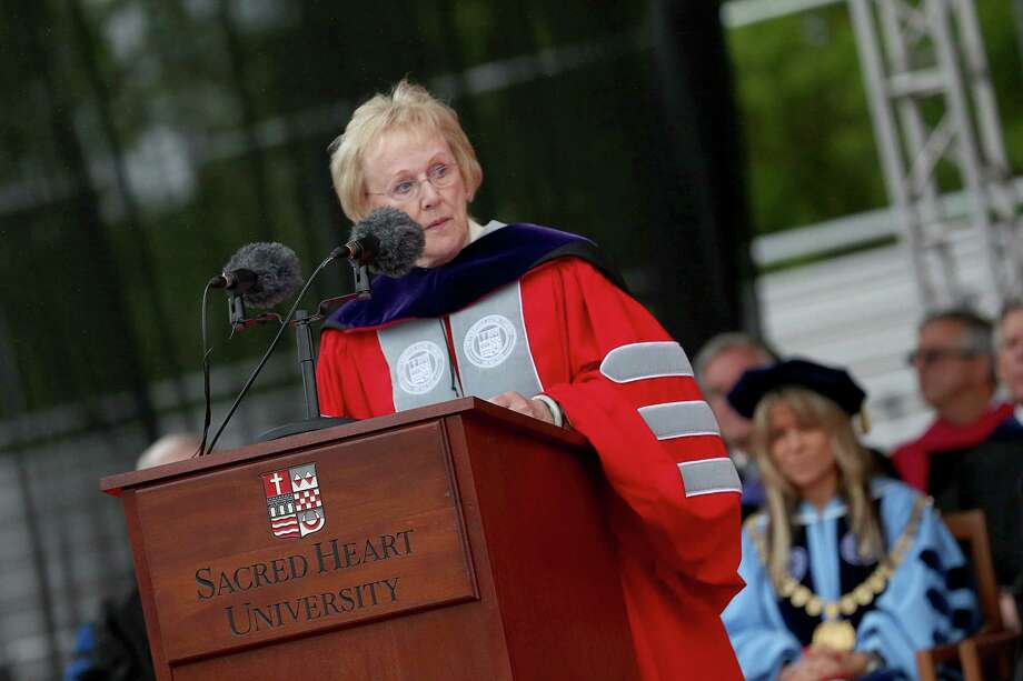 Newtown First Selectman E. Patricia Llodra gives commencement address at Sacred Heart University 2013 graduation ceremony in Fairfield, Conn. on Sunday May 19, 2013. Photo: Mike Ross / Connecticut Post contributed