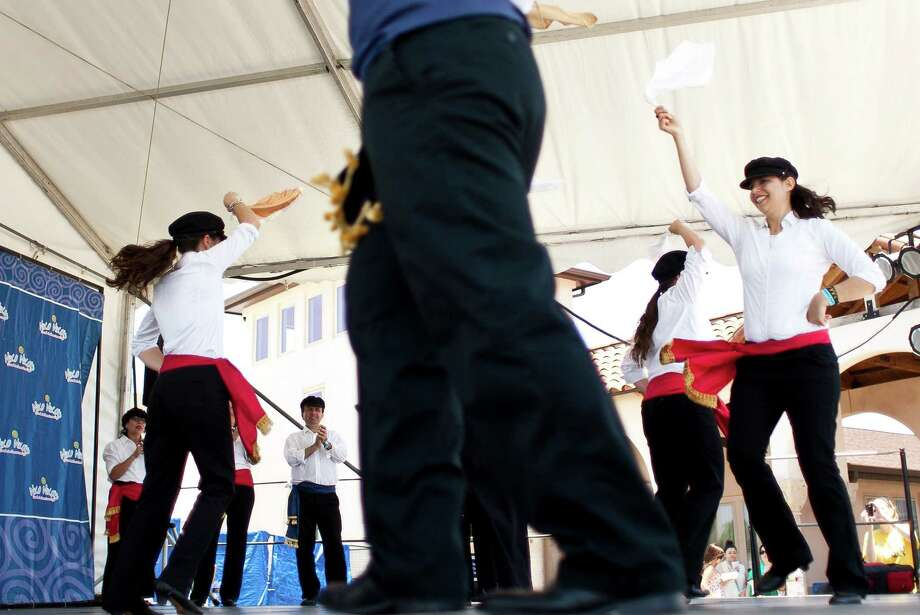 The Greek dancing group Atheninians and Alpha Omega perform during Houston Greekfest 2013, Sunday, May 19, 2013, at St. Basil's the Great Greek Orthodox Church in Houston. Photo: Nick De La Torre, Chronicle / © 2013 Houston Chronicle