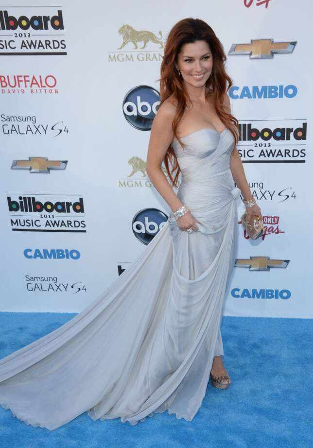 Country singer Shania Twain arrives on the red carpet for the 2013 Billboard Music Awards at the MGM Grand in Las Vegas, Nevada, May 19, 2013.   AFP PHOTO / ROBYN BECKROBYN BECK/AFP/Getty Images