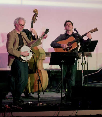 Dick Neil, left, and Jim Allyn perform during The Flagpole Radio Cafe at Edmond Town Hall in Newtown, Conn. on Saturday, May 18, 2013. Photo: H John Voorhees III