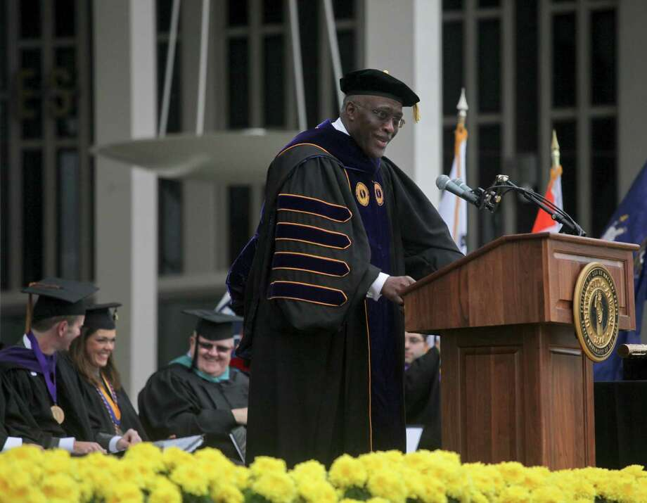 President Robert J. Jones at the graduation commencement ceremonies at the University of Albany on Sunday, May 19, 2013. (Erin Pihlaja / Special to the Times Union)