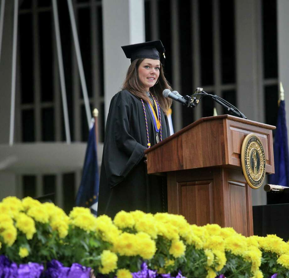 Emily A. Finnegan, of the graduating class of 2013, gives remarks at the graduation commencement ceremonies at the University of Albany on Sunday, May 19, 2013. (Erin Pihlaja / Special to the Times Union)