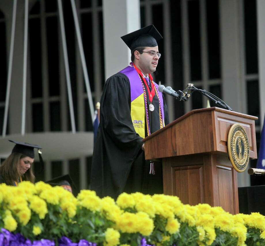 Arthur Rushforth, of the graduating class of 2013, gives remarks at the graduation commencement ceremonies at the University of Albany on Sunday, May 19, 2013. (Erin Pihlaja / Special to the Times Union)