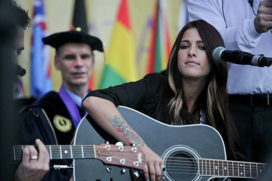 "Cassadee Pope, last season's winner of NBC's, ""The Voice,"" sang at the graduation commencement ceremonies at the University of Albany on Sunday, May 19, 2013. Brothers and alumni Avery Lipman and Monte Lipman, who own Republic Records and who also were the key note speakers, invited her as a special guest. (Erin Pihlaja / Special to the Times Union)"