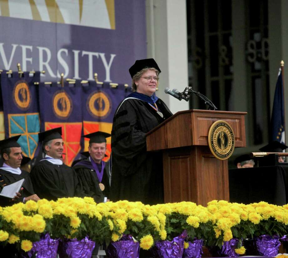 Provost and Vice President for Academic Affairs Susan D. Phillips at the graduation commencement ceremonies at the University of Albany on Sunday, May 19, 2013. (Erin Pihlaja / Special to the Times Union)