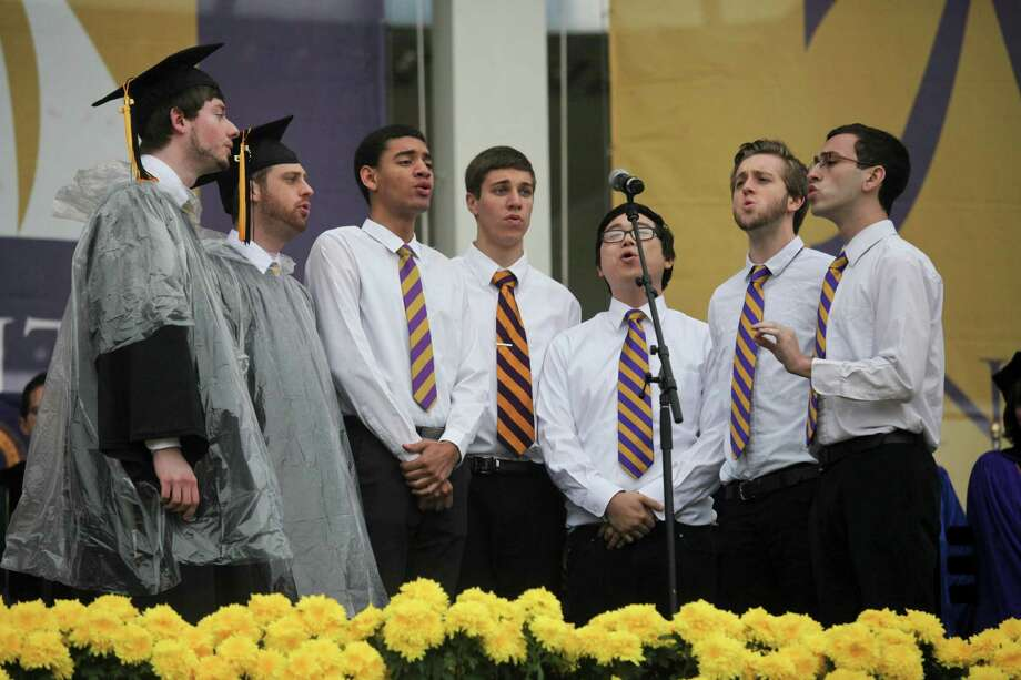 The Earth Tones sang the National Anthem at the graduation commencement ceremonies at the University of Albany on Sunday, May 19, 2013. (Erin Pihlaja / Special to the Times Union)