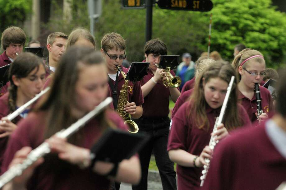 Members of the Berne-Knox-Westerlo marching band perform during the Altamont Memorial Day parade on Sunday, May 19, 2013 in Altamont, NY.  (Paul Buckowski / Times Union) Photo: Paul Buckowski
