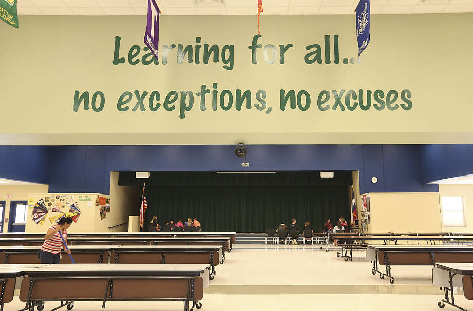 Comal Independent School District includes Mountain Valley Middle School, whose cafeteria sports a message about learning in the district. None of the district's 22 ranked campuses scored below a C in annual findings from nonprofit Children at Risk, based in Houston.