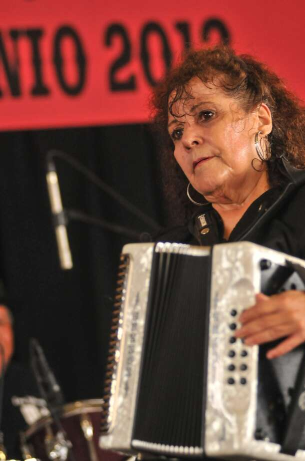 Eva Ybarra performs during the 32nd Annual Tejano Conjunto Festival Sunday, May 19, 2013, at Rosedale Park.
