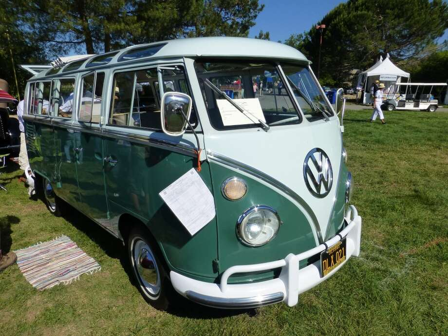 1965 Volkswagen 21-window bus, with original invoice (piece of paper near the right headlight) showing the car was sold by Gary Vincel Motors, Clayton, Mo., for $2,976.95, less a $776.95 trade-in. Owners: Richard and Margo Maxey, Corte Madera, Calif.