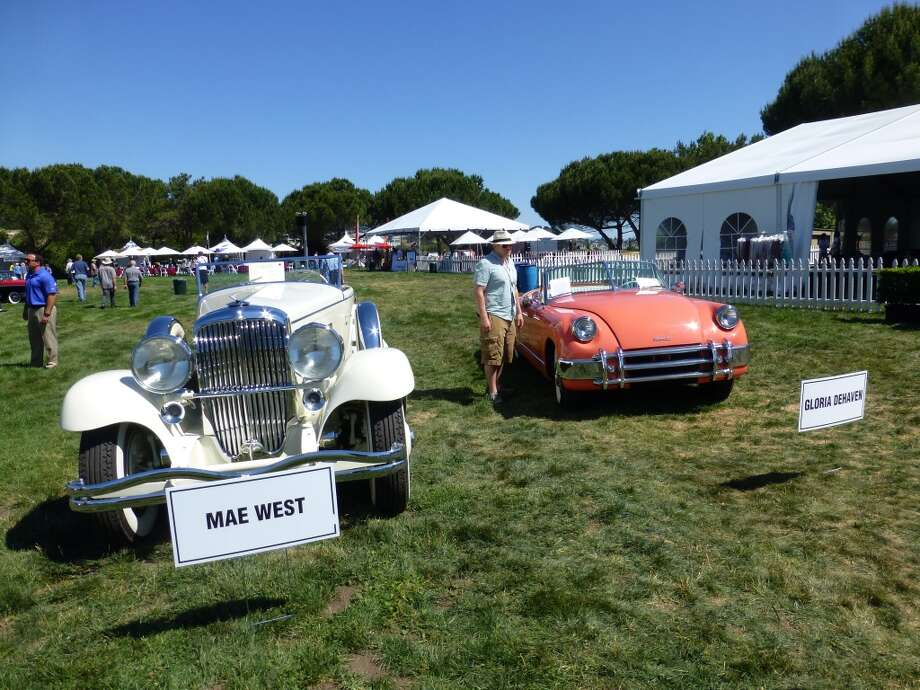 The display of movie star cars. 1934 Duesenberg Model J (the white car), once owned by Mae West. Owner: Steven Flynn, Los Altos, Calif. 1953 Muntz Jet, which belonged to Gloria DeHaven. Now owned by Sheldon Donig, San Anselmo, Calif.