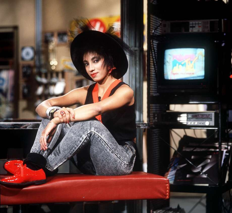 MTV VJ Downtown Julie Brown on the set in MTV's New York Studio in 1988.  Photo by Frank Micelotta/ImageDirect.
