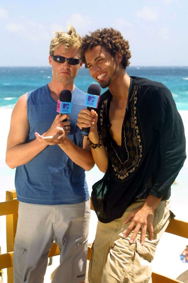 MTV VJ's Brian McFayden and Quddus backstage during MTV Spring Break 2002.