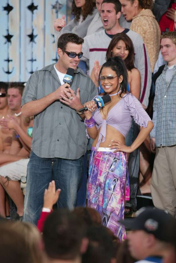 MTV VJ Carson Daly with co-host Christina Milan during taping for the opening of the MTV Beach House in Seaside Heights, New Jersey 2002.