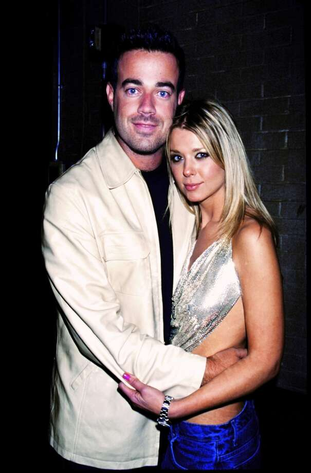MTV VJ Carson Daly with girlfriend, actress Tara Reid, at premiere of the film Black and White.
