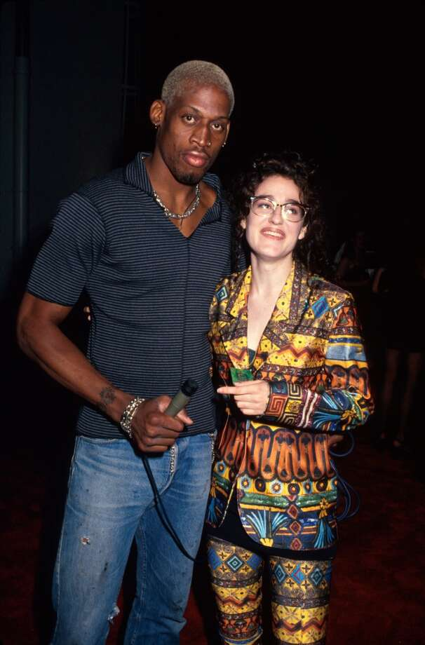 Professional basketball player Dennis Rodman and MTV VJ Kennedy.