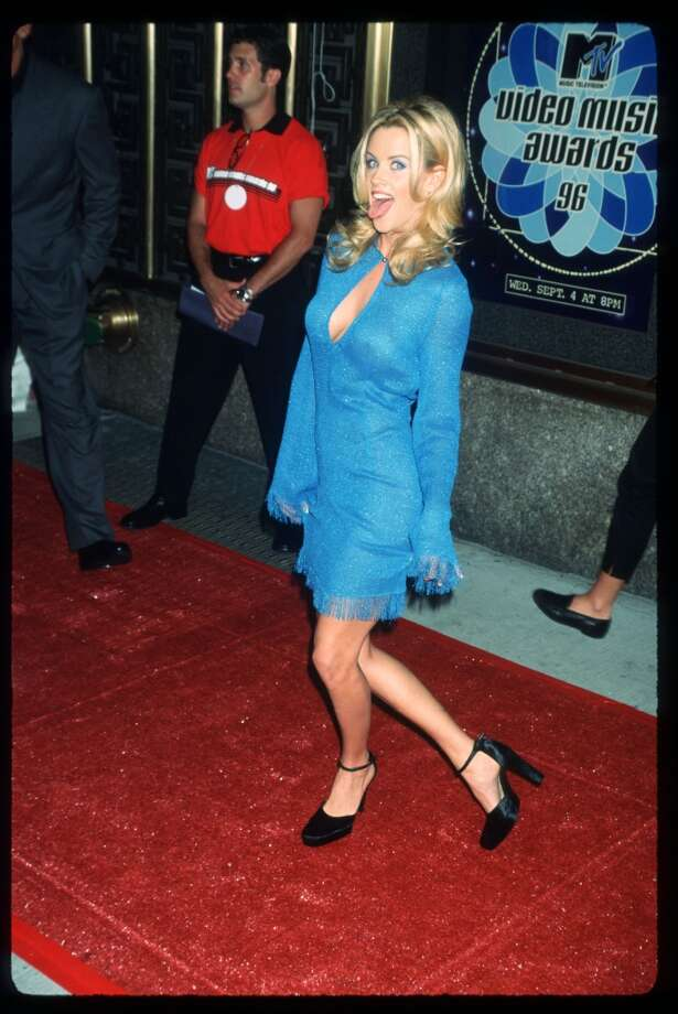MTV VJ Jenny McCarthy attends the MTV Video Music Awards September 4, 1996 in New York City. The awards honored music videos produced by popular artists such as Smashing Pumpkins, Metallica and Alanis Morissette.