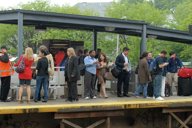 Commuters wait for westbound Metro North trains running from South Norwalk, Conn. to New York on Monday May 20, 2013. Photo: Dru Nadler / Stamford Advocate Freelance