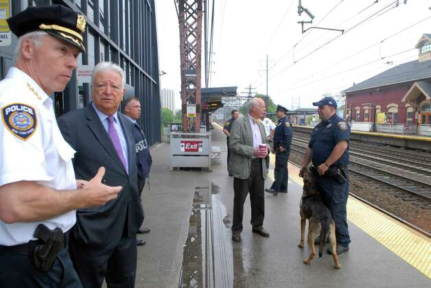 MTA police chief Mike Coan and Norwalk mayor Richard Moccia visit the South Norwalk, Conn. train station on Monday May 20, 2013. Photo: Dru Nadler / Stamford Advocate Freelance