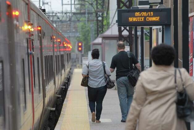 Metro North trains run from South Norwalk, Conn. to New York on Monday May 20, 2013. Photo: Dru Nadler / Stamford Advocate Freelance