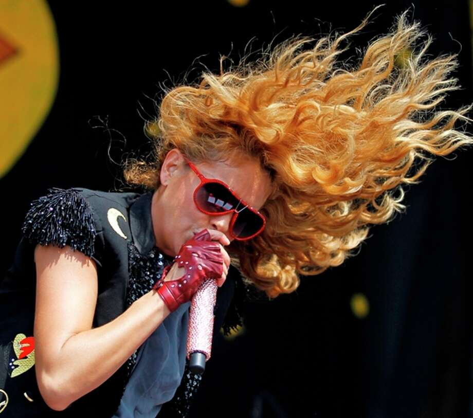Paulina Rubio performs on the Congo Square stage during the New Orleans Jazz and Heritage Festival Saturday, May 5, 2012 in New Orleans. Photo: Brett Duke