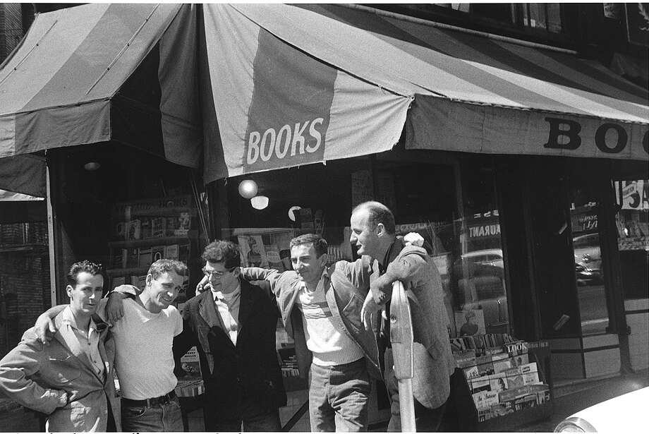 Bob Donlon (left), Neal Cassady, Allen Ginsberg, Robert La Vigne and Lawrence Ferlinghetti, whose City Lights bookstore in San Francisco is behind them, in 1956. Photo: Peter Orlovsky