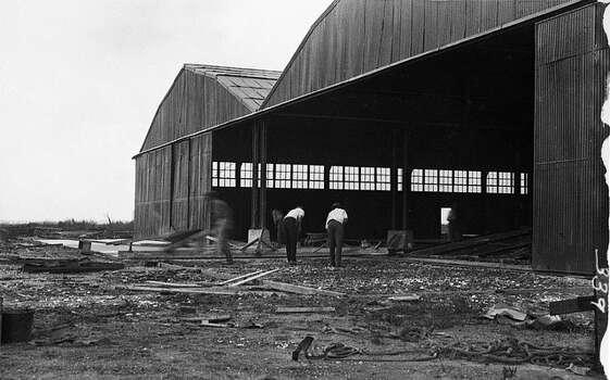 Hangar construction at Langley in 1922.