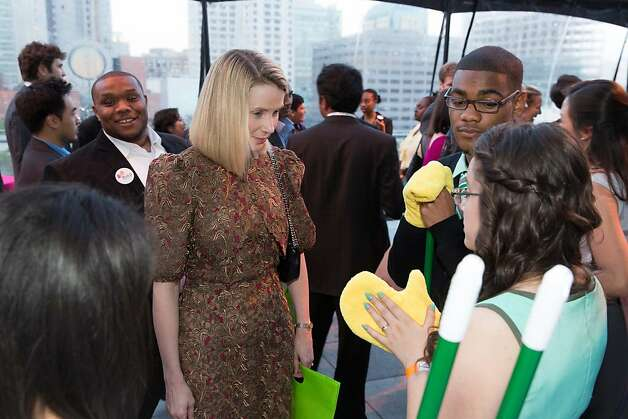 Marissa Mayer speaks with D'Mani Thomas and Jessica Garrido at The BUILD Gala on May 17, 2013. Photo: Drew Altizer Photography