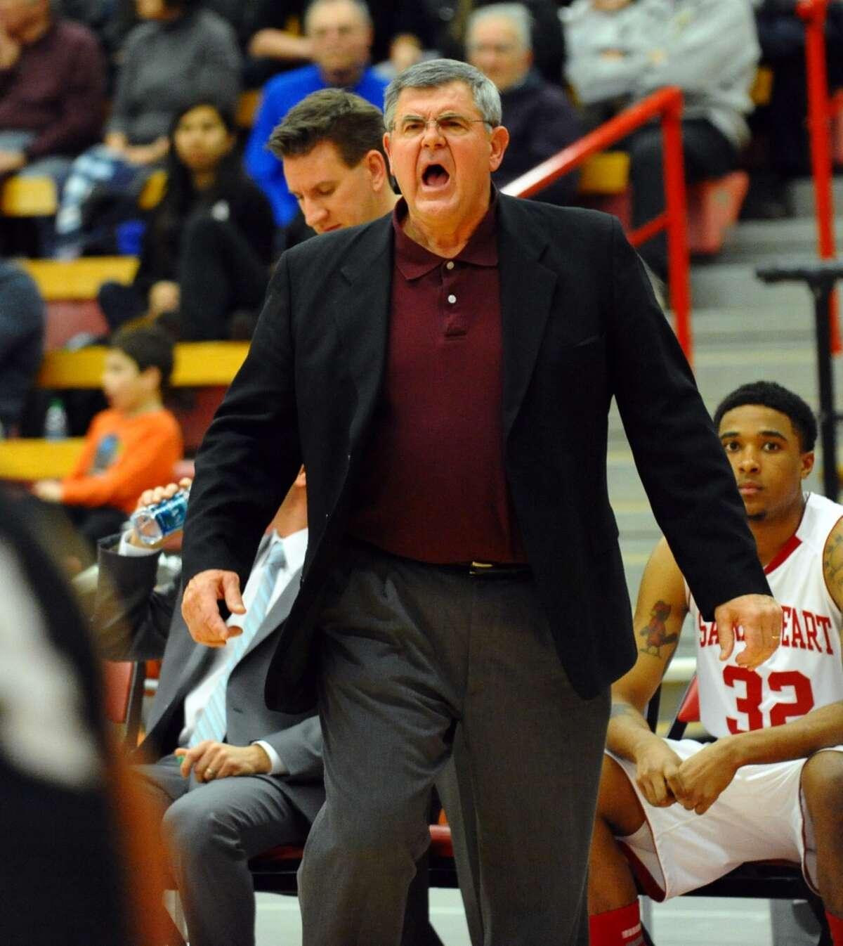 Sacred Heart Head Coach Dave Bike, during men's basketball action against Bryant at Sacred Heart University in Fairfield, Conn. on Thursday January 24, 2013.