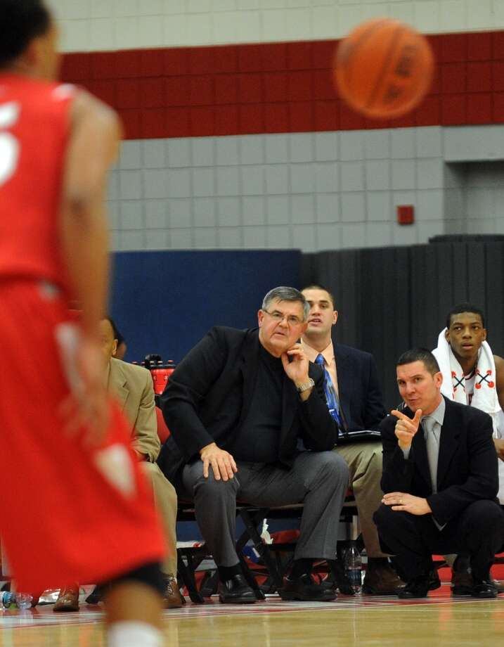Highlights from men's basketball action between Sacred Heart and Stony Brook in Fairfield, Conn. on Tuesday November 15, 2011.  Sacred Heart Head Coach Dave Bike.