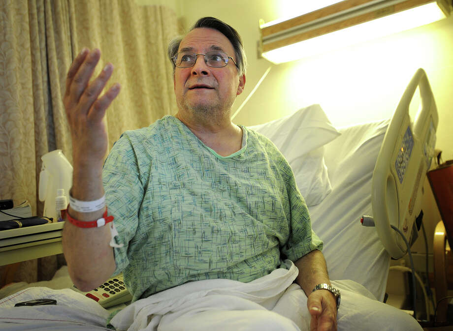 Paul Jordan, of New Haven, discusses how he was thrown in the air during Friday's train derailment and collision in Bridgeport, in his room at St. Vincent's Medical Center in Bridgeport, Conn. on Monday, May 20, 2013. Jordan suffered a compression fracture in his spine. Photo: Brian A. Pounds / Connecticut Post