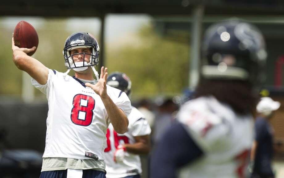 Texans quarterback Matt Schaub throws a pass.