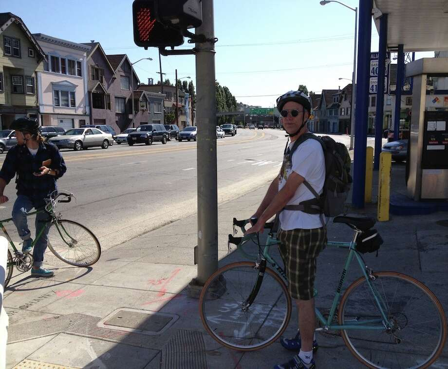 Waiting at Cesar Chavez & Bryant. Marc Thompson on the right, a Swedish fellow named Carl on the left.