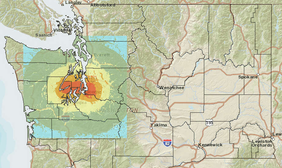 Tacoma fault quake at 7.1 magnitude. Photo: Washington State Earthquake Hazards Scenario Catalog